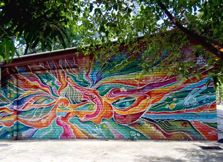 My favourite street art in Kampong Glam: the vibrant colourful waves of Slacsatu's Alphabatik found at Sultan Arts Village