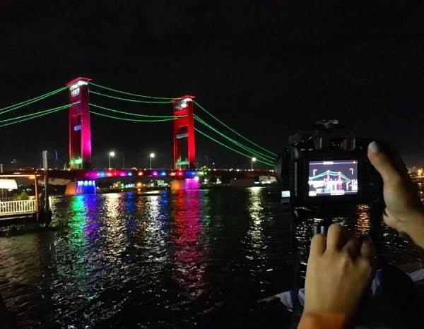 South Sumatra Palembang Eclipse Ampera Bridge Night