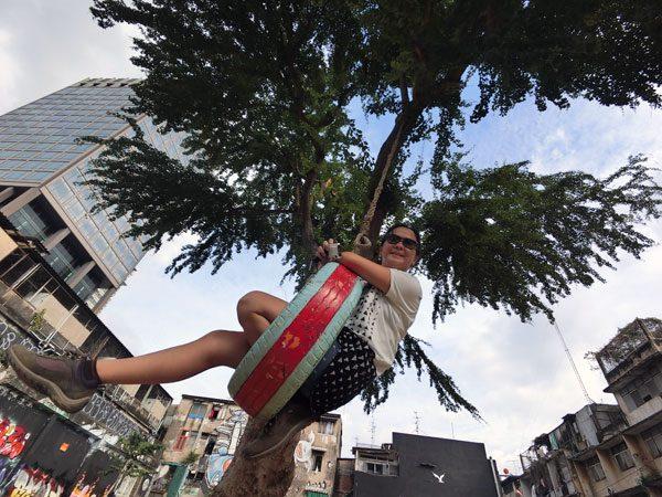 Bangkok Street Art Chalerma Park Swing