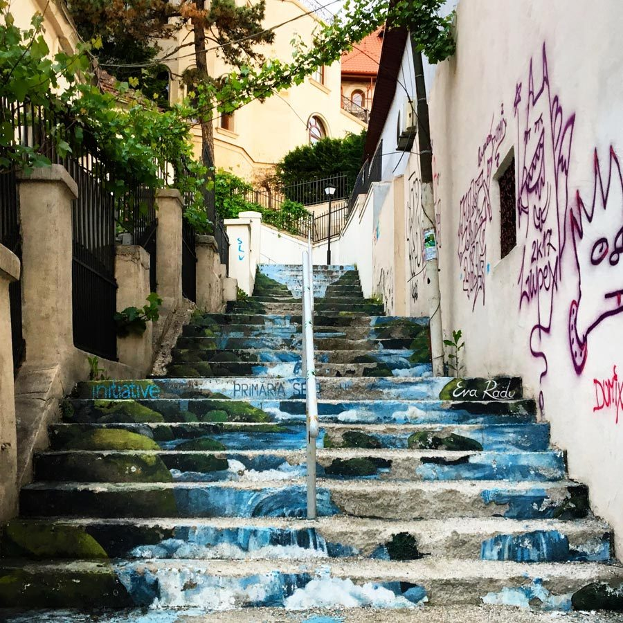 Bucharest Street Art Staircase Waterfall