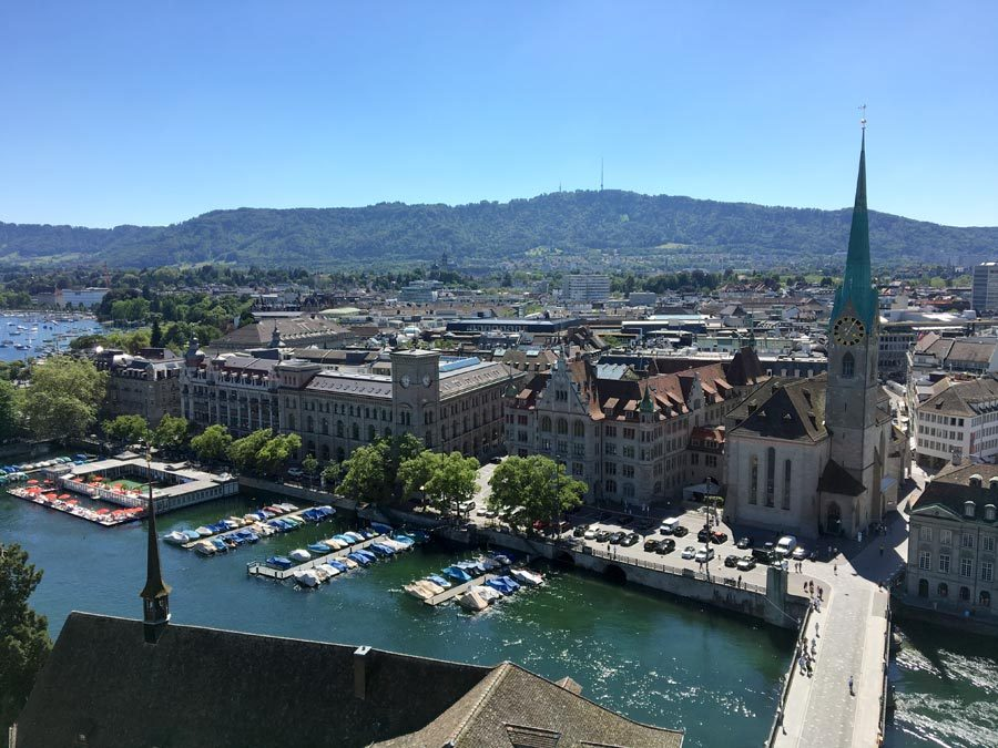 Zurich Grossmunster View Fraumunster Limmat