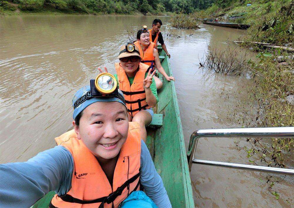 Laos Kong Lor Cave Boat Wefie