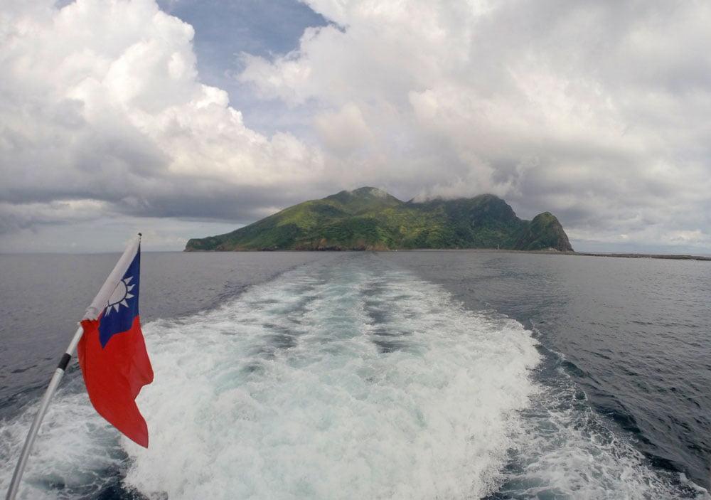 Guishandao Boat Flag Behind